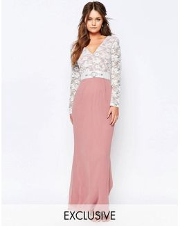 Maxi Dress With Lace Bodice And Embellished Waist