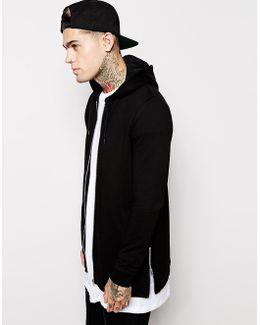 Longline Zip Up Hoodie With Side Zips