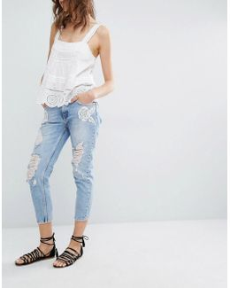 Rose Embroidered Jean