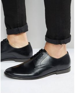 Derby Shoes In Black Leather - Wide Fit Available