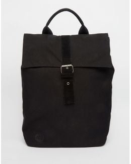 Canvas Fold Top Backpack In Black