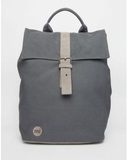 Canvas Fold Top Backpack In Charcoal