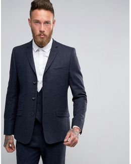 Slim Suit Jacket In Navy Herringbone