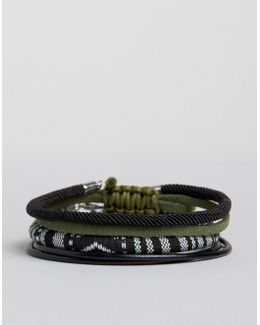 Woven Bracelet Pack In Black With Khaki