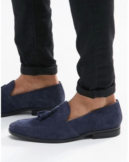 Tassel Loafers In Navy Suede