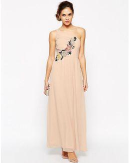 Pleated One Shoulder Maxi Dress With Crochet Applique Trim