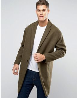 Wool Mix Overcoat With Drop Shoulder In Army Green