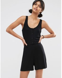Ribbed Button Through Lounge Playsuit