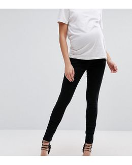 Ridley Skinny Jean In Clean Black With Over The Bump Waistband
