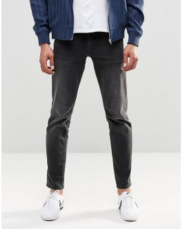 Stretch Slim Jeans In 12.5oz In Washed Black