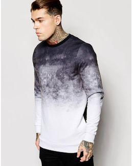 Longline Sweatshirt With Dip Dye Effect