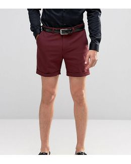 Skinny Shorts In Cotton Sateen
