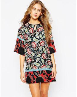 Kimono Sleeve Shift Dress In Lotus Flower Print