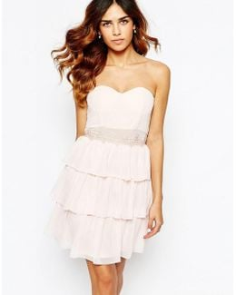 Sweetheart Bandeau Frill Dress With Lace Trim