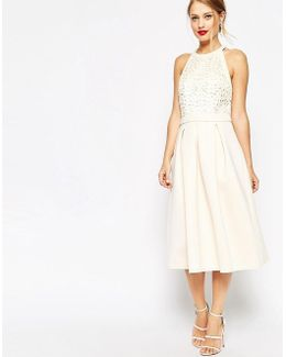 Cutwork Midi Skater Dress