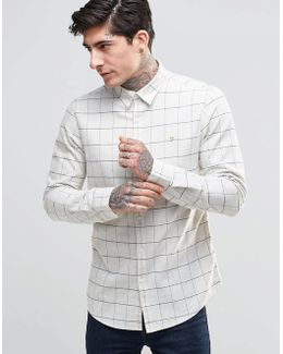 Shirt With Graph Check In Slim Fit White