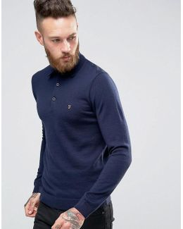 Knitted Polo Shirt In Merino Wool Slim Fit Navy