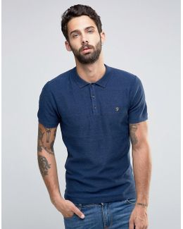 Knitted Polo Shirt With Textured Stripe In Slim Fit Blue