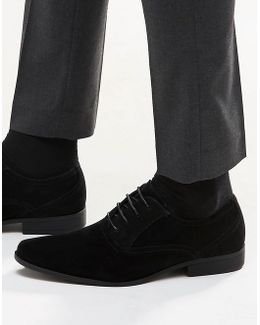 Oxford Shoes In Black Faux Suede