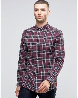 Shirt In Tartan Cotton Slim Fit Red
