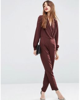 Long Sleeve Jumpsuit With Collar And Wrap Front