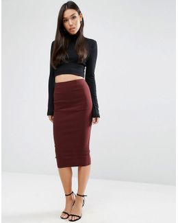 High Waist Longerline Pencil Skirt