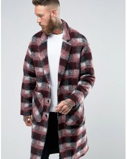 Checked Overcoat In Red