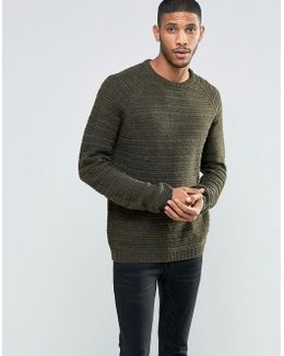 Knitted Jumper In Khaki Textured Yarn