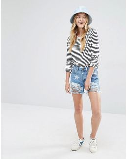 Denim Shorts With Stars And Distressing