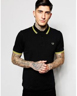 Polo With Twin Tipped In Black
