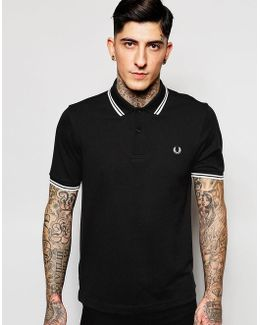 Slim Fit Polo With Twin Tipped In Black