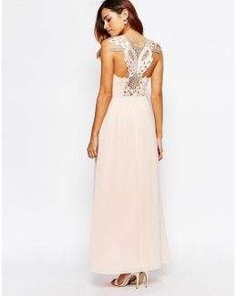 Cowl Maxi Dress With Lace Applique Back
