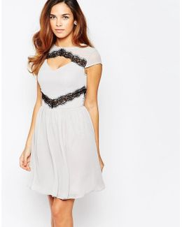 Skater Dress With Contast Lace Trim