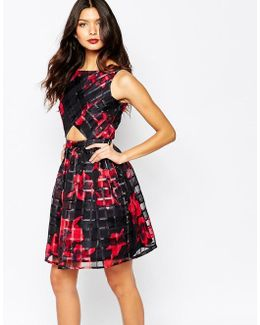Cut Out Skater Dress In Organza