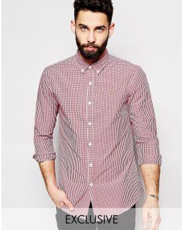Shirt With Gingham Check Slim Fit Exclusive In Red