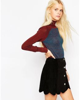Jumper With Roll Neck In Colourblock With Stitch Detail