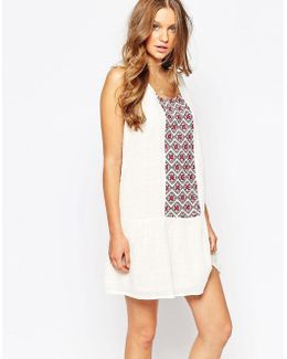 Drop Hem Embroidered Boho Dress