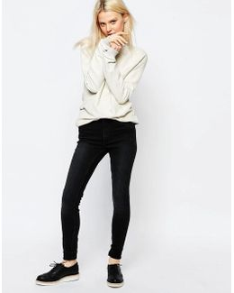 Super Stretch Skinny Jeans In Washed Black