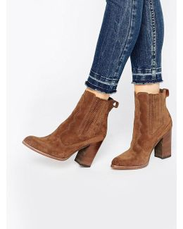 Conway Suede Stack Heeled Ankle Boots