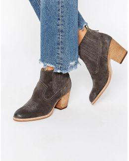 Jones Suede Stack Heeled Ankle Boots
