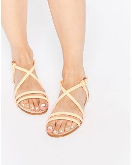 Jo Nude Strappy Leather Flat Sandals