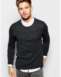Longer Length Body Ribbed Crew Neck Knitted Jumper