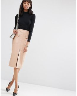 Pu Pencil Skirt With Pockets And Front Split