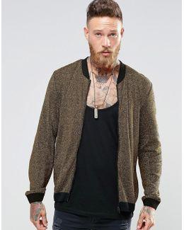 Knitted Bomber In Gold Metallic Yarn