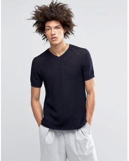 Knitted Tshirt In Open Stitch