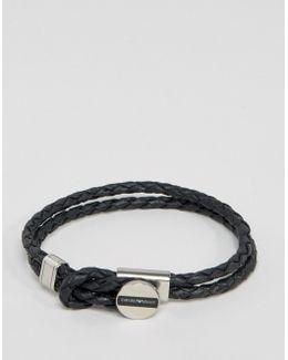 Leather Logo Bracelet In Black