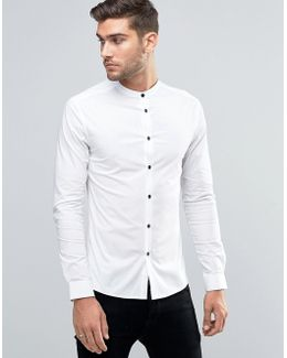 Skinny Shirt In White With Grandad Collar And Contrast Buttons