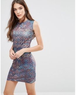 Abstract Print Bodycon Dress