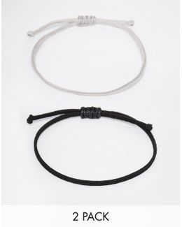 Rope Bracelet Pack In Black And Grey