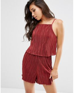 Double Layered Pleated Plisse Playsuit
